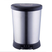 GAOLILI Stainless Steel Trash Cans Pedal Home Living Room Bathroom Covered Trash Cans Slow Down Dustbins