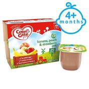 Cow & Gate Banana Peach And Strawberry Fruit Pot 4X100g