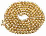 10K Yellow Gold Men's One Row Real Diamond Prong Chain Necklace 6CT 3MM