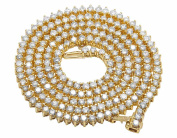 Men's Real Diamond Martini Prong Necklace Chain 10K Yellow Gold 12.5ct 60cm
