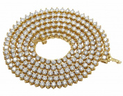 10K Yellow Gold Real Diamond Martini Prong Tennis Chain Necklace 22.5Ct 4MM