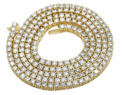 10K Yellow Gold Men's One Row Real Diamond Prong Chain Necklace 22.25ct 3MM
