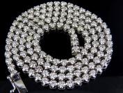 Men's 10K White Gold Real Diamond Tennis Chain Necklace 38 1/2 ct
