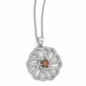 Sterling Silver & CZ Brilliant Embers Swirls Necklace