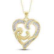JewelonFire Genuine Accent White Diamond Mom & Child Heart Pendant in Gold over Silver
