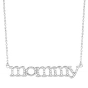 World Trade Jewellers Sterling Silver 1/5ct TDW Diamond 'Mommy' Necklace