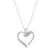 Marabela Sterling Silver Diamond Heart Pendant
