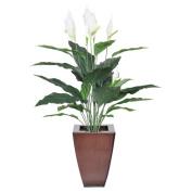 House of Silk Flowers Inc. Faux Peace Lily Floral Arrangement in Planter