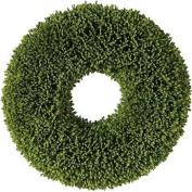 28cm Decorative Artificial Two Tone Green Botanical Spring Wreath - Unlit