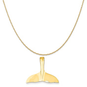 14k Yellow Gold Whale Tail Slide Pendant on a 14K Yellow Gold Rope Chain Necklace, 41cm