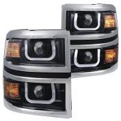 Anzo Usa 111309 Anz111309 14-15 Silverado 1500 Projector Headlights W/U-Bar Black Clear W/ Chrome Trim