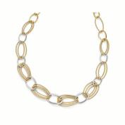 Leslie's Sterling Silver Gold-tone Flash 18k Plated Link Necklace