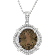5th & Main Platinum-Plated Sterling Silver Oval Double-Cut Smokey Topaz Pave CZ Pendant Necklace
