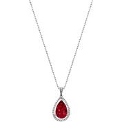 5th & Main Platinum-Plated Sterling Silver Slender Teardrop-Cut Ruby Corundum Pave CZ Pendant Necklace