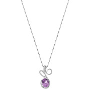 5th & Main Platinum-Plated Sterling Silver Floral Lace-Cut Amethyst Pave CZ Pendant Necklace