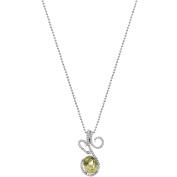 5th & Main Platinum-Plated Sterling Silver Floral Lace-Cut Lemon Quartz Pave CZ Pendant Necklace