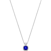 5th & Main Platinum-Plated Sterling Silver Petite-Cut Blue Obsidian Pave CZ Pendant Necklace