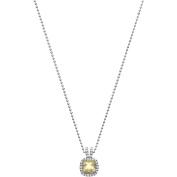 5th & Main Platinum-Plated Sterling Silver Petite-Cut Lemon Quartz Pave CZ Pendant Necklace