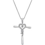 Knots of Love Sterling Silver 1/10 Carat T.W. Diamond Heart/Cross Pendant, 46cm