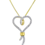 Knots of Love 14kt Yellow Gold over Sterling Silver 1/10 Carat T.W. Diamond Heart Pendant, 46cm