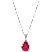 5th & Main Platinum-Plated Sterling Silver Teardrop-Cut Ruby Corundum Pave CZ Pendant Necklace