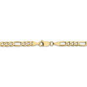 22 Inch 14k Yellow Gold 4 mm Flat Figaro Chain Necklace - 22 Inches