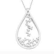 14K White Gold 3/8 c.t. TW Scattered Diamond Heart Pendant Necklace, 46cm