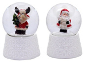 20087bc cute mini snow globes with white porcelain base Christmas, diameter 45mm