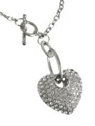 Dangling Rhinestone Heart Toggle Necklace / Pendant