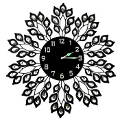 Lulu Decor Decorative Black Leaf Metal Wall Clock, Black Glass Dial in Arabic Numerals, Clock Diameter 60cm , Glass Dial 23cm