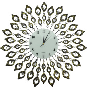 Lulu Decor, Decorative Vintage Leaf Metal Wall Clock, Diameter 60cm , Arabic Glass Dial 23cm , Perfect for Housewarming Gift