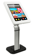 Mount-It! Tablet Stand for POS and Kiosk Use, Desk or Table Mount, Anti-Theft, Locking, iPad Tablet Holder for Apple iPad 2, 3, 4, Air and Samsung Tablet Sizes 26cm , White and Silver