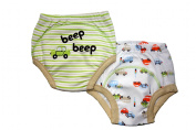 Beep, Beep Car Potty Training Pants - PACK OF 2 (Small, 0-1.5 years) Size 9.3-11kg Inner Waterproof Layer, 100% Cotton, Embroidered Detail, White & Green