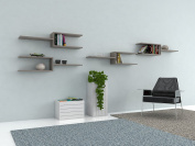 VE.ca-italy Shelf Books Decor of in Wood design of High Quality Made In Italy In 9 Different Colours, 2 cm Thickness Oak Grey