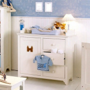 lounge-zone Baby Changing Table Pretty, Country Style, Solid Wood, White, incl. Changing Unit 3828