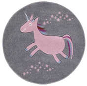 Kids rug Happy Rugs UNICORN silver-grey/pink 133cm round