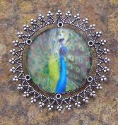 Peacock, Glass Bead Brooch Lapel Pin Badge Handmade Arts and Craft, Victorian