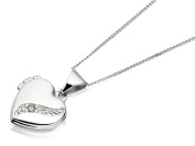F.Hinds 9ct White Gold Diamond Heart Locket And Chain Necklace Pendant Photo New
