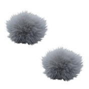 TOOKY Women' Fluffy Mink Fur Pom Removable Shoe Clips Clutch Wedding Decoration Pack of 2