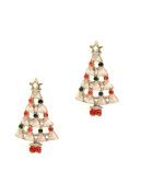 Pick A Gem Wite Enamel Crystal Festive Christmas Tree Clip on Earrings