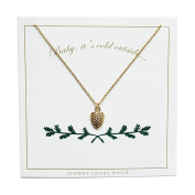 Johnny Loves Rosie Gold Pinecone Gift Card Women Chain Necklace of Length 48cm 5055632017938