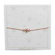 Johnny Loves Rosie Snowflake Rose Gold Gift Card Women Cubic Zirconia Charm Bracelet of Length 22cm 5055632017921