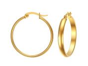 Jiedeng Jewellery Women Earring Set Hoop Earrings Stainless Steel Earring with Round classic Hoop Earrings Set Anniversary Wedding Hoop Earrings for Women Ladies Gold