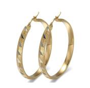Jiedeng Jewellery Women Earring Set Hoop Earrings Stainless Steel Earring with Triangle Pattern classic Hoop Earrings Set Anniversary Wedding big Hoop Earrings for Women Ladies Gold