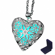 Glowing Necklace Silver Plated Star Heart Locket Pendant Necklace For Women 46cm