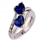 2018 Women Lover Jewellery Heart Cut Sapphire & Ruby Gemstone Silver Ring Beauty Top