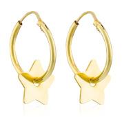 Cordoba Jewels | Earrings in 925 Sterling Silver Gold Vermeil. Design Hoop Star Gold