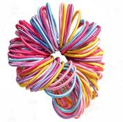 Vikenner 100 Pcs Baby Girl Children Elastic Hair Tie Bands Durable Small Thin Hair Elastic Ponytail Stretchy Hairband Ponytail Holders - Random Colour