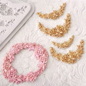 MiniInTheBox Rose Flower Garland Silicone Mould Border Jewellery Wedding Fondant Cake Decorating Tools Stencil Cupcake Mould Random Colour