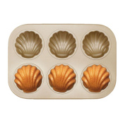 6 Cups Non-stick Grill Shell Shaped Cupcake Mould Jaminy Steel Nonstick Bakeware Pan Tray Mould